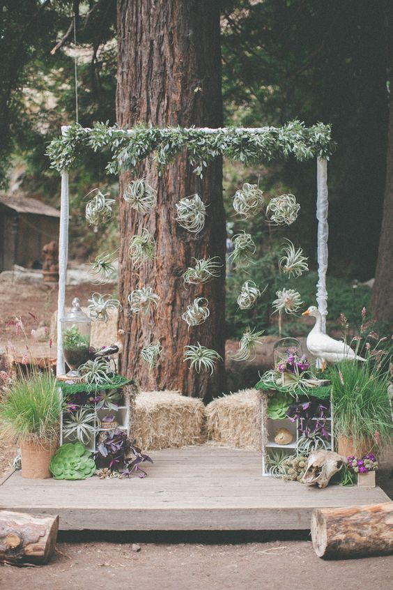 Foliage wedding ceremony arch idea