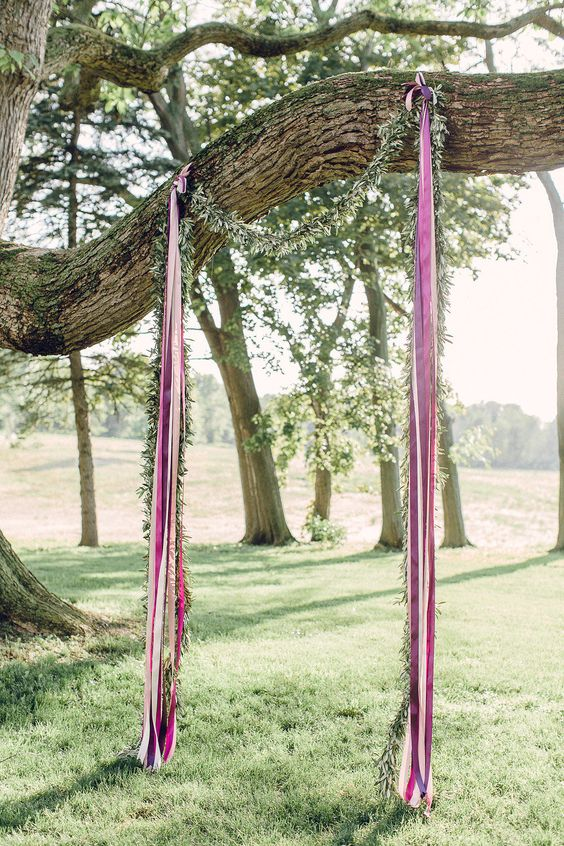 Ribbon wedding ceremony arch idea