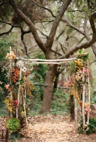 Autumn foliage wedding arbour