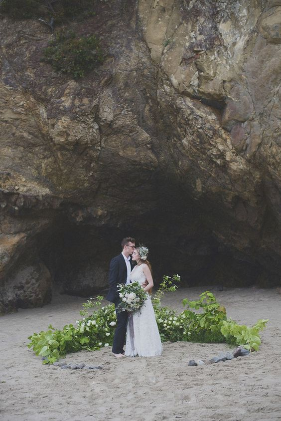 Floral and foliage ground flowers wedding ceremony