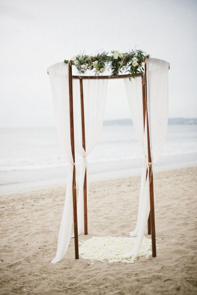 Fabric arch arbour wedding ceremony