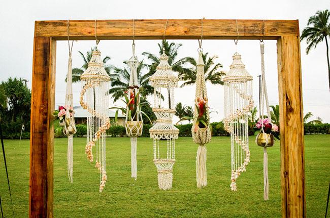 Hanging macrame wedding ceremony ideas