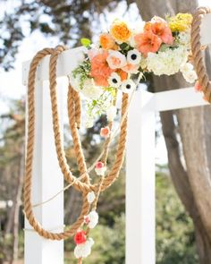 Rope ceremony nautical wedding ideas